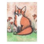 Foxie lindo y flores postal