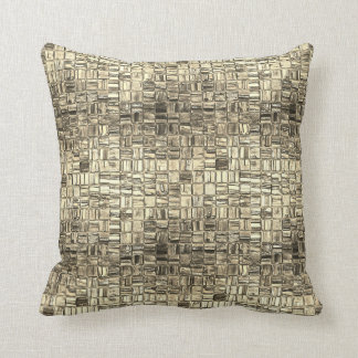 Foxier Gold Graphite Minimal Square Mosaic Pillow