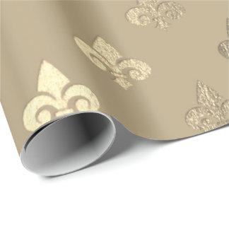 Foxier Sepia Gold Metallic Fleur-de-lis Wrapping Paper