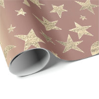 Foxier Stars Moon Gold Sky Pink Rose Blush Metal Wrapping Paper