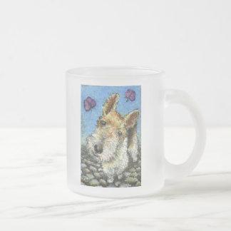 Foxterrier and butterflies frosted glass coffee mug