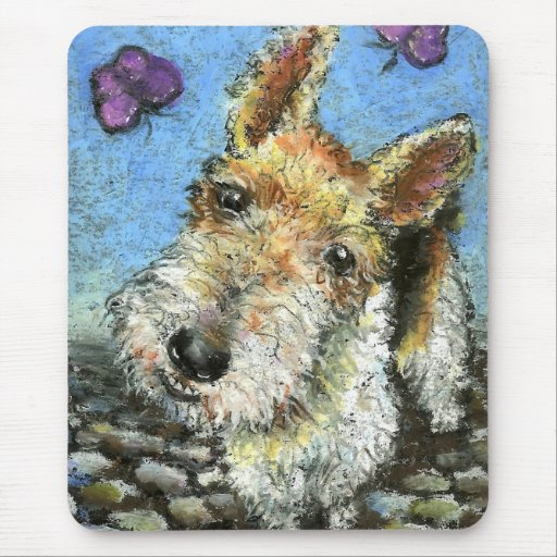 Foxterrier and butterflies mouse pad