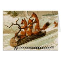 foxxes on sled card