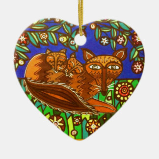 Foxy and her cubs. ceramic heart decoration