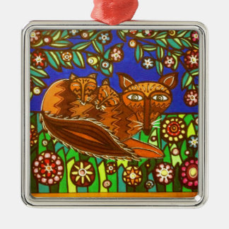 Foxy and her cubs. Silver-Colored square decoration