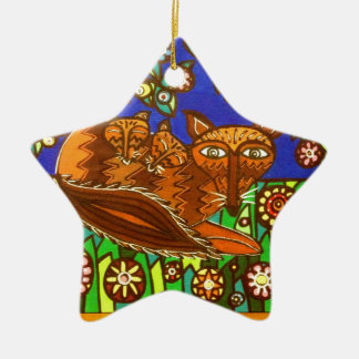 Foxy and her cubs. ceramic star decoration