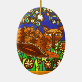 Foxy and her cubs. ceramic oval decoration