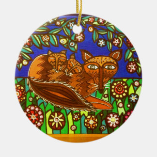 Foxy and her cubs. round ceramic decoration