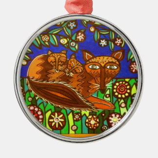 Foxy and her cubs. Silver-Colored round decoration