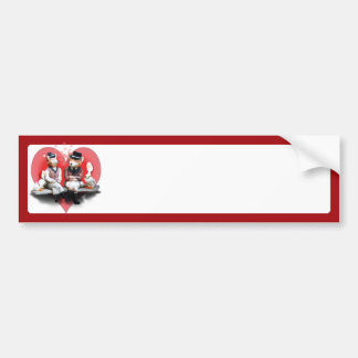 Foxy Couple with Heart Bumper Sticker