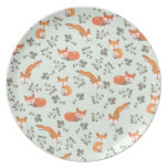 Foxy Floral Pattern Dinner Plate