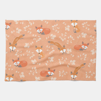 Foxy Floral Pattern Hand Towel