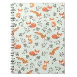 Foxy Floral Pattern Spiral Notebook
