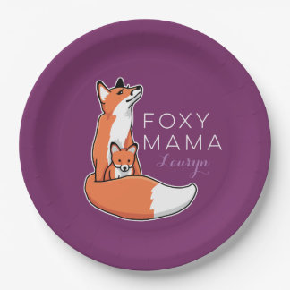 Foxy Fox Mama with Baby, Personalized Paper Plate
