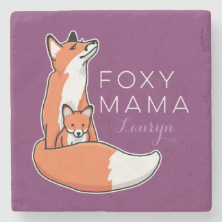 Foxy Fox Mama with Baby, Personalized Stone Coaster