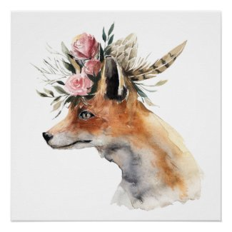 Foxy Fox With Pink Flower Crown Poster Print