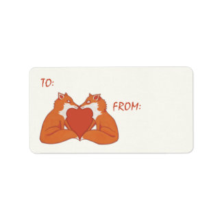 Foxy Love brown Gift Tag Sticker Label