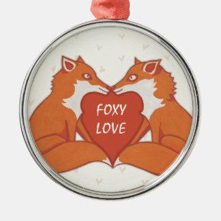 Foxy Love brown Premium Round Ornament