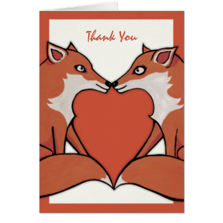 Foxy Love brown Thank You Note Card