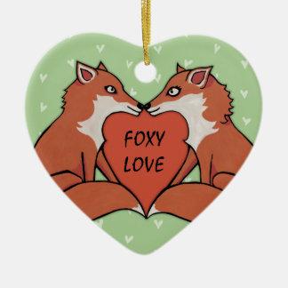 Foxy Love Heart Ornament