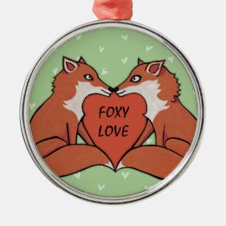 Foxy Love Premium Round Ornament