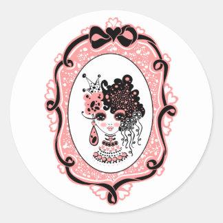 foxy lulu black-pink classic round sticker