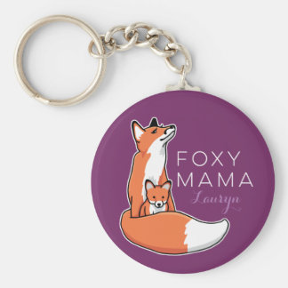 Foxy Mama Red Fox with Pup, Personalized Basic Round Button Keychain