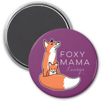 Foxy Mama Red Fox with Pup, Personalized 3 Inch Round Magnet