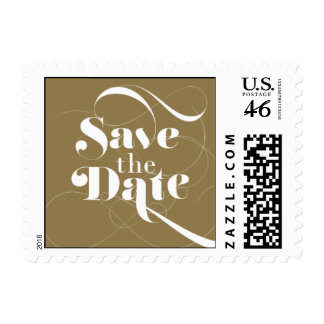 Foxy - Save the Date - Gold Postage Stamp