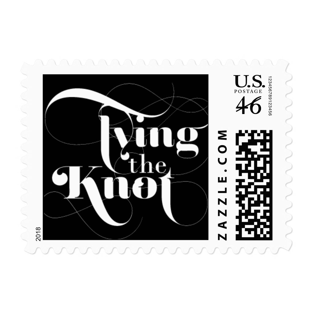Foxy - Tying the Knot - Black Postage Stamp