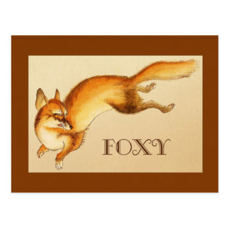 """Foxy"" - Vintage Japanese sketch of a fox Postcard"