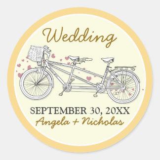 {FP} Tandem Bicycle Wedding Invite Seal (yellow)