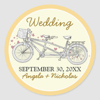 {FP} Tandem Bicycle Wedding Invite Seal (yellow) Classic Round Sticker