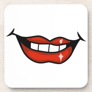 FPA0106 RED LIPS OPEN MOUTH  TEETH SMILE HAPPY BEVERAGE COASTER