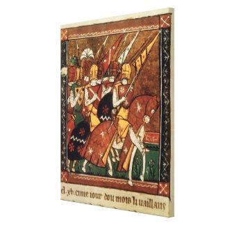 Fr 9084 f.20v: Knights on horseback Canvas Print