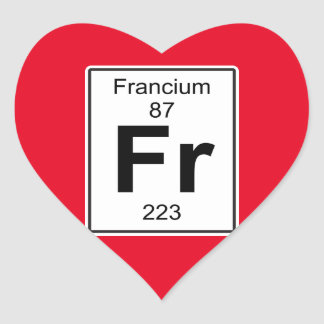 Fr - Francium Heart Sticker