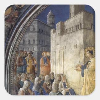 Fra Angelico- el sermón de St Stephen Calcomanías Cuadradases