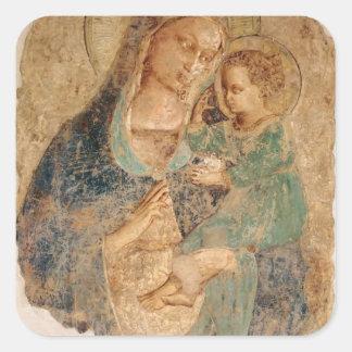 Fra Angelico- Madonna y niño Calcomanías Cuadradass Personalizadas