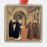 Fra Angelico-Meeting of Sts. Dominic & Francis Square Metal Christmas Ornament