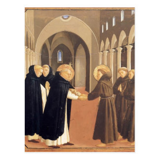 Fra Angelico-Meeting of Sts. Dominic & Francis Postcard