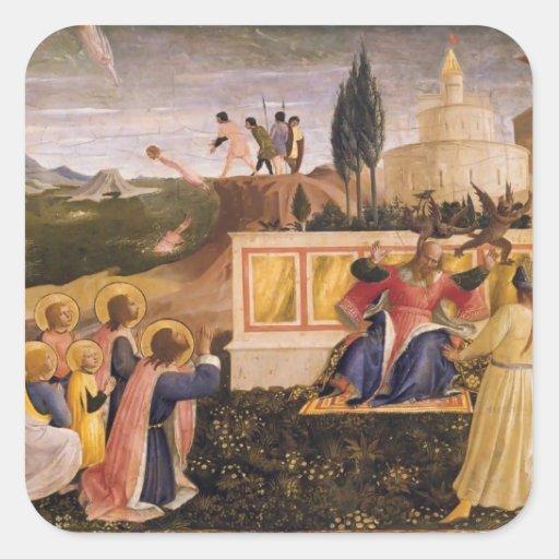 Fra Angelico- Saint Cosmas ,Saint Damian Salvaged Square Stickers