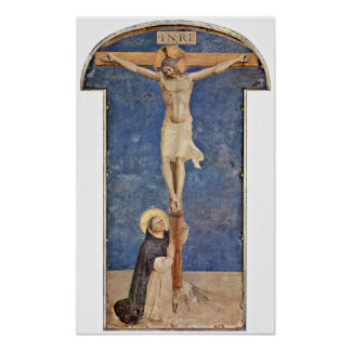 Fra Angelico - StDominic at the Cross of Christ Poster