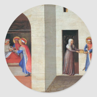 Fra Angelico- The Healing of Palladia Classic Round Sticker