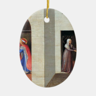Fra Angelico- The Healing of Palladia Double-Sided Oval Ceramic Christmas Ornament