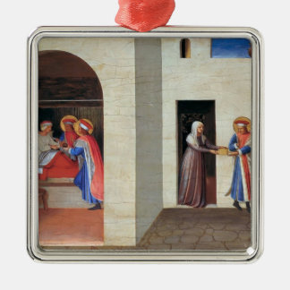 Fra Angelico- The Healing of Palladia Square Metal Christmas Ornament
