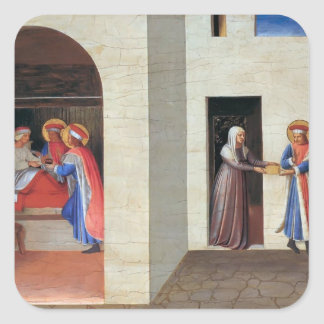 Fra Angelico- The Healing of Palladia Square Sticker