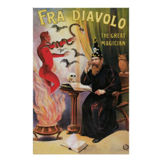 Fra Diavolo ~ The Great Magician Vintage Magic Act Poster