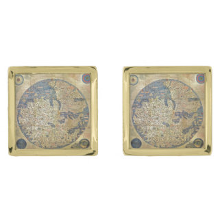 Fra Mauro Map Gold Cufflinks