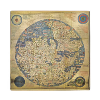 Fra Mauro Map Wood Coaster