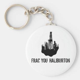 frac you Haliburton Basic Round Button Keychain